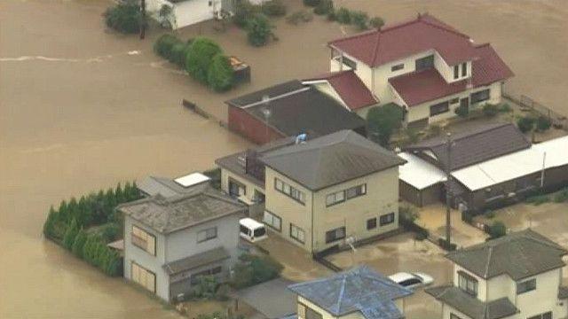 затопленные дома в Японии