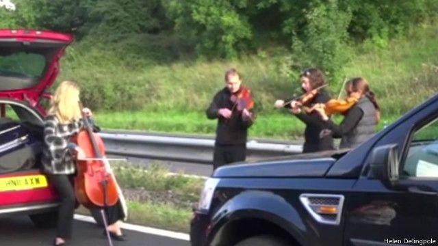 виолончелисты развлекают автомобилистов в пробке
