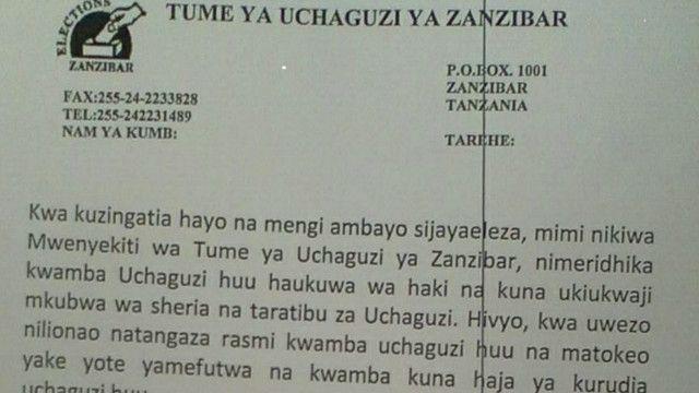 Matokeo ya zanzibar yafutwa