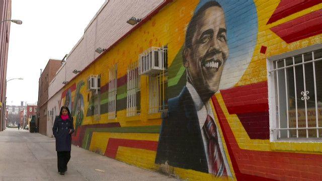 Граффити Обамы на стене