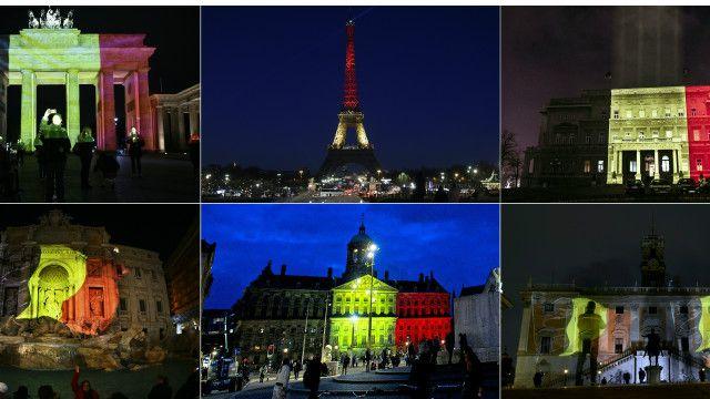 Các biểu tượng tại nhiều quốc gia thắp đèn màu quốc kỳ Bỉ để tỏ tình đoàn kết