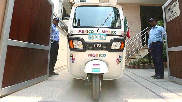 Rickshaw de la embajada de México en India