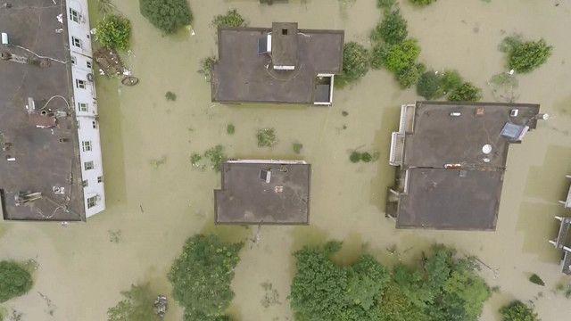 Cảnh lũ lụt tại Trung Quốc nhìn từ trên không