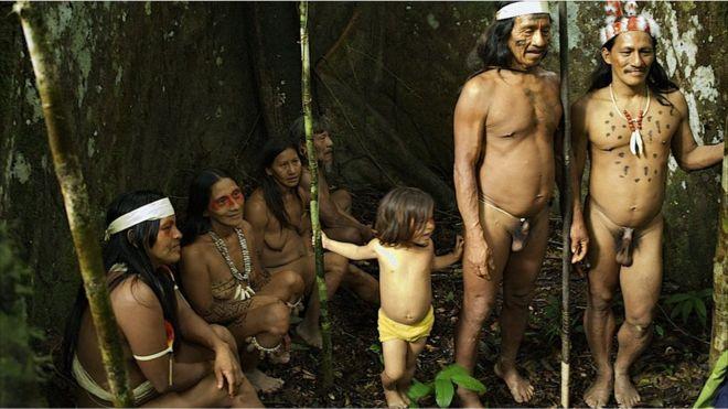 Mujeres y hombres huaorani bajo su árbol sagrado