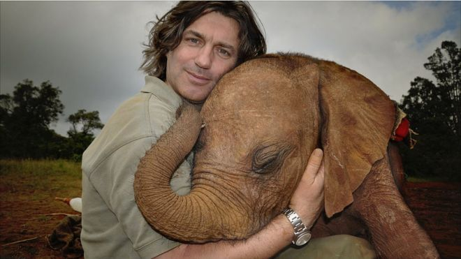 Слоненок и сотрудни Фонда дикой природы Шелдрика