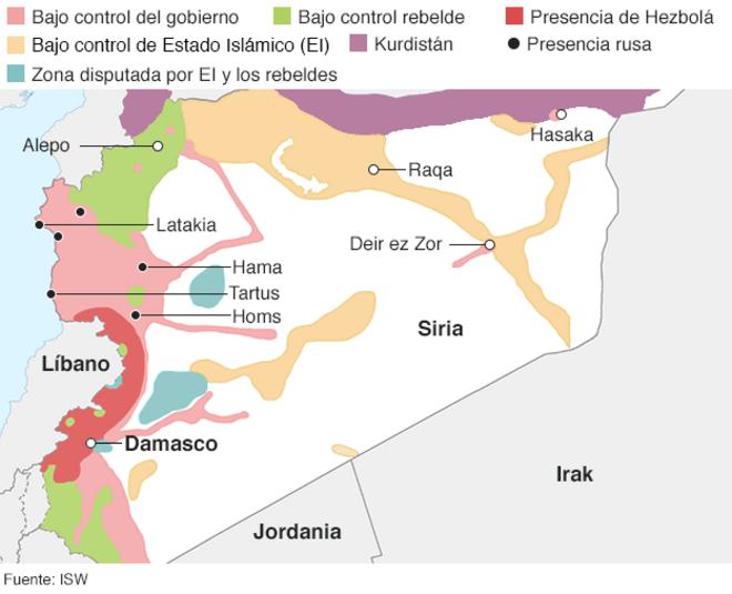 Guerra De Siria Mapa.El Mapa Que Muestra Quien Controla Que Territorios En Siria