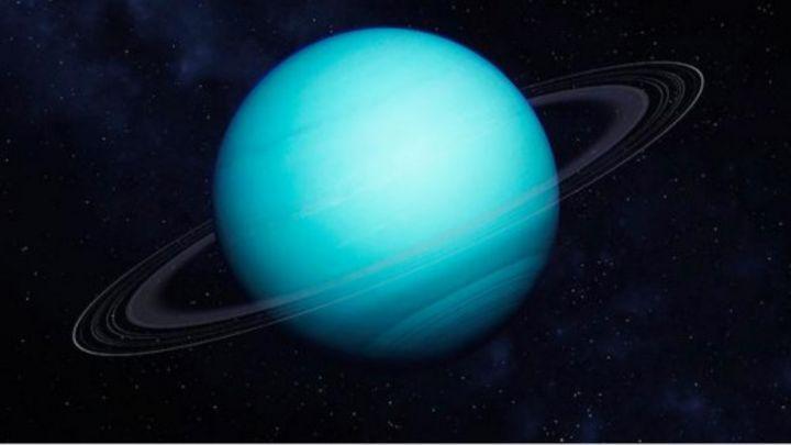 Image result for يحيط بكوكب أورانوس 26 قمراً صغيراً، وبضعة حلقات باهتة اللون