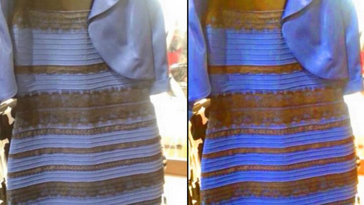 Qual a cor do vestido azul e preto