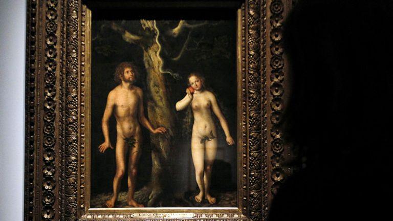 """У картины Лукаса Кранаха """"Адам и Ева"""""""