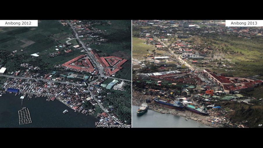 En fotos: antes y después del supertifón Haiyán