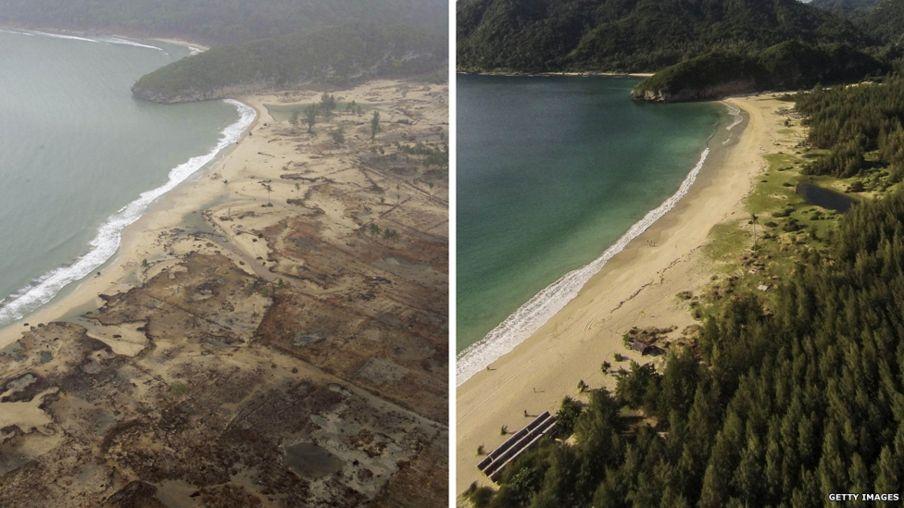 Antes y después: así están los paisajes devastados por el tsunami de 2004