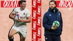 A graphic with a picture of Owen Farrell on the left and Andy Farrell on the right