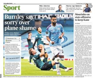 The back page of Tuesday's Times