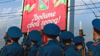 Soldiers celebrate Trans-Dniestrian independence day, 2015