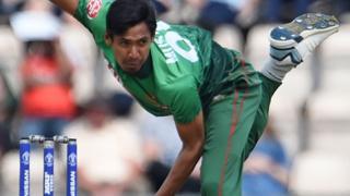 Bangladesh's Mustafizur Rahman bowls against Afghanistan