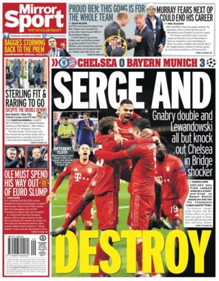 Mirror back page on Wednesday