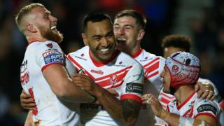 St Helens celebrate Zeb Taia's try