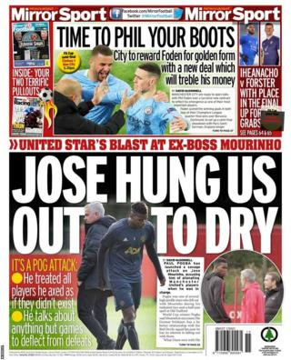 The back page of Saturday's Mirror