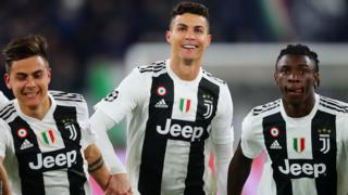 Cristiano Ronaldo celebrates with Juventus teammates