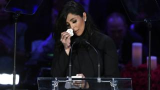 Vanessa Bryant wipes a tear as she delivers a speech at the memorial for her late husband Kobe Bryant and daughter Gianna