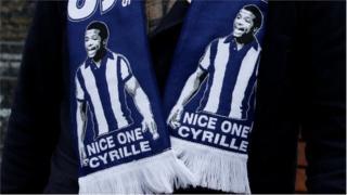 A Cyrille Regis scarf worn by a West Brom fan