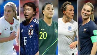 Lindsay Horan, Hina Sugita, Sam Kerr, Lucy Bronze and Amandine Henry