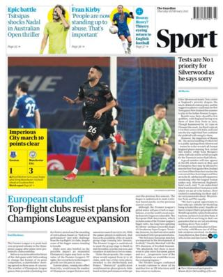 Thursday's Guardian back page: 'Imperious City march 10 points clear'