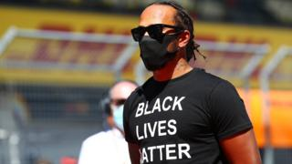 Lewis Hamilton wears a 'Black Lives Matter' T-shirt