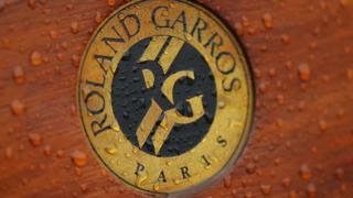 The French Open logo in the rain
