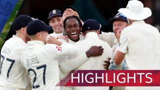 Jofra Archer celebrates his maiden Test wicket