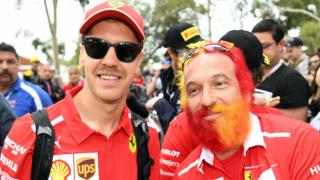 Sebastian Vettel and a fan