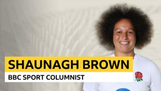 Shaunagh Brown in England kit and the words 'Shaunagh Brown BBC Sport Columnist'