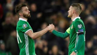 Northern Ireland's Steven Davis and Stuart Dallas