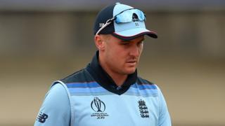 England batsman Jason Roy walks off after injury his hamstring against West Indies