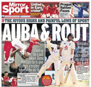 Friday's back pages: Mirror - 'Auba & Rout'