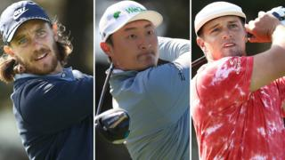 Tommy Fleetwood (left), Haotong Li (centre) and Bryson DeChambeau (right)