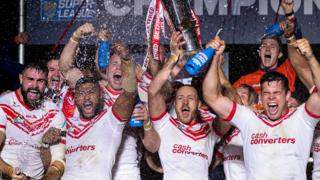 St Helens lift the Super League Grand Final trophy