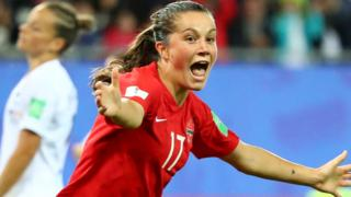 Jessie Fleming celebrates scoring for Canada against New Zealand