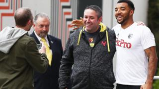 Troy Deeney outside the Watford team hotel