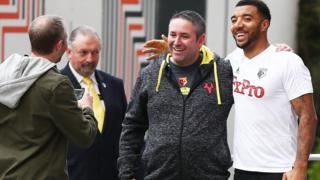 Troy Deeney outside the Watford team hotel