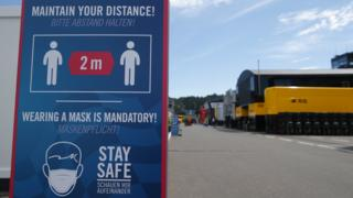 A sign to wear a facemask at the Red Bull Ring in Austria