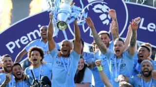 Man City lift the trophy