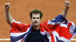 Andy Murray celebrates Great Britain winning the Davis Cup in 2015