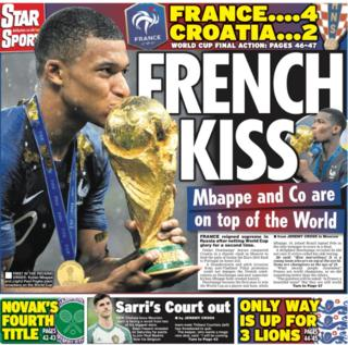 The Daily Star leads on the French World Cup success, as do all the other back pages