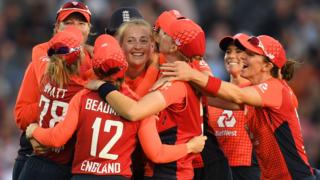 England women celebrate during the Women's Ashes