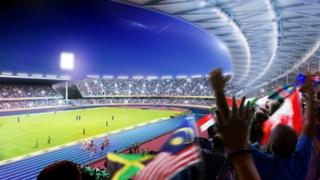 An artist's impression of how the Alexander Stadium in Birmingham will look