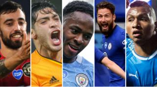 Manchester United's Bruno Fernandes (left), Raul Jimenez of Wolves, Manchester City's Raheem Sterling, Olivier Giroud of Chelsea and Alfredo Morelos of Rangers