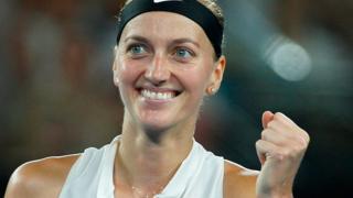 Petra Kvitova celebrates after beating Danielle Collins to reach the Australian Open final