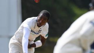 Jofra Archer in action for Sussex's Second XI