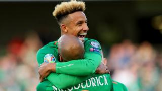 Callum Robinson and David McGoldrick celebrate the Republic's opening goal